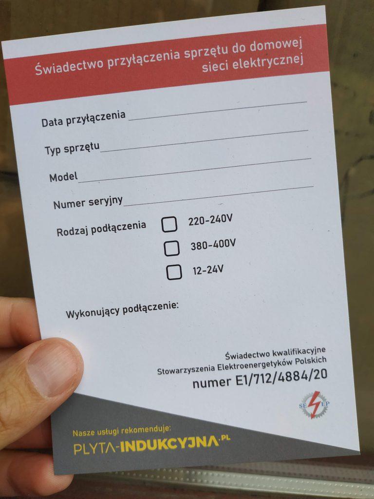 Podłączenie płyty indukcyjnej we Wrocławiu- zaświadczenie